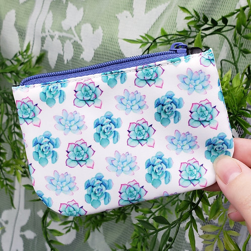 Bright Succulent Pattern Coin Purse (White Variation)