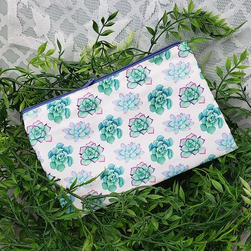 Bright Succulent Love Zipper Pouch (White Variation)