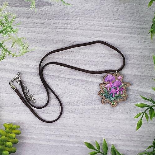 Mushroom Wood Pendant Necklace