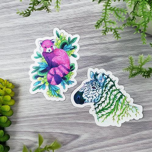 Zebra & Red Panda - Plant Animal Vinyl Sticker Set