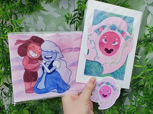 Steven Universe Fine Art Prints & Vinyl Sticker Set (Limited Quantity!)