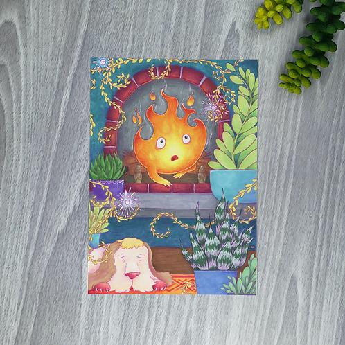 Calcifer & Plants Small Fine Art Print (1 Print)
