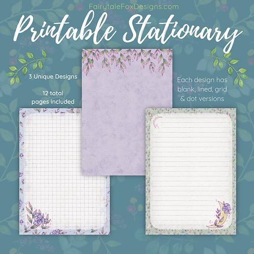 Purple Floral Moon Printable Stationary Set