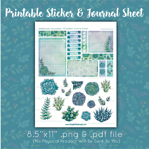 Watercolor Succulent Printable Journal Sheet