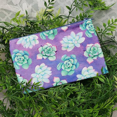 Bright Succulent Love Zipper Pouch (Purple Variation)