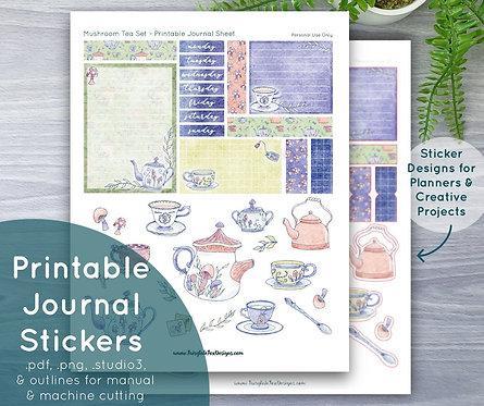 Mushroom Tea Set Printable Journal & Sticker Sheet