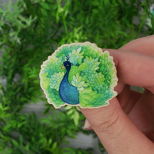 Succulent Peacock Wood Pin (Eco-Friendly🌲💕)