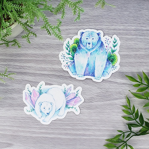Watercolor Bear Vinyl Sticker Set