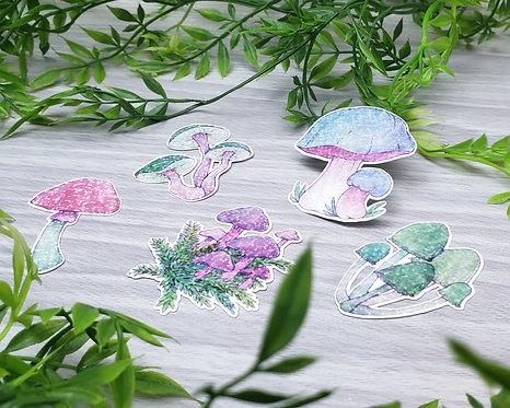 Bright Mushroom Holo Sticker Set