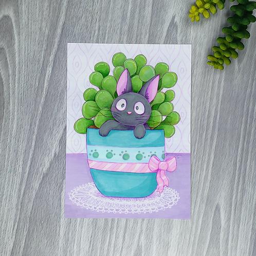 Jiji & Plants Small Fine Art Print (1 Print)