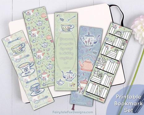 Mushroom Tea Set Printable Bookmark Set