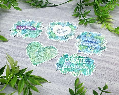 Encouraging Words Self-Care Holo Sticker Set