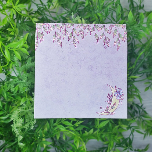 Purple Floral Moon Sticky Notepad