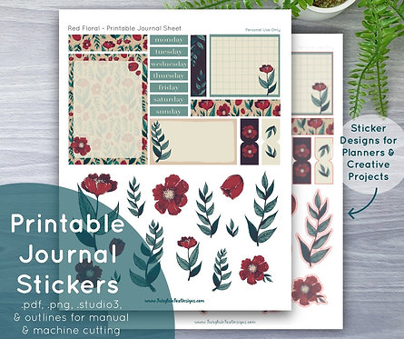 Red Floral Printable Journal Sheet