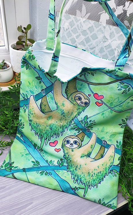 Sloth Love Zippered Large Tote Bag (Slight Misprint Discounted)