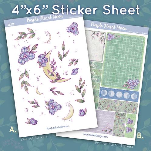 Purple Floral Moon Sticker Sheet
