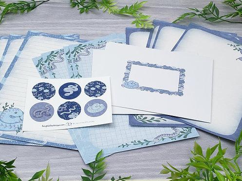 Lavender Snake Stationery Set