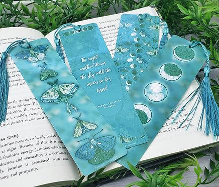Teal Lunar Moth Bookmarks