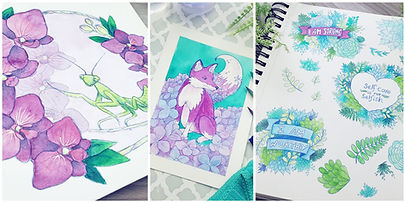 Fairytale Fox Designs Portfolio of watercolor praying mantis, hydrangea fox, and self-care affirmational and encouraging plant designs