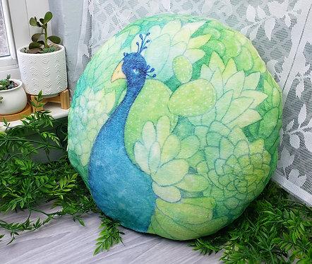 Soft Succulent Peacock Pillow