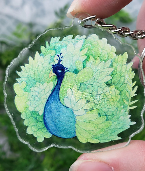 Discounted Peacock Acrylic Keychain (Slight discoloration & minor cracks)