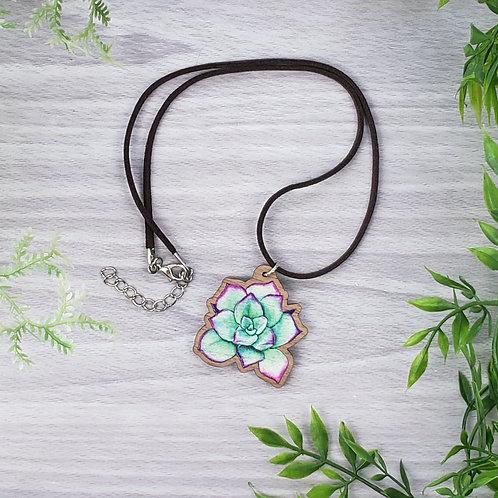 Succulent Wood Pendant Necklace