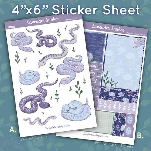 Lavender Snakes Sticker Sheet