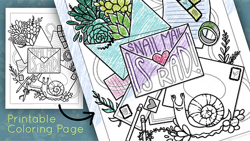Snail Mail is Rad! DIGITAL Coloring Page (Save the USPS Fundraiser!)