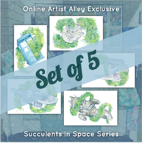 Large Succulents in Space Fan Art Poster Prints (Set of 5)