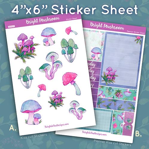 Bright Mushroom Sticker Sheet