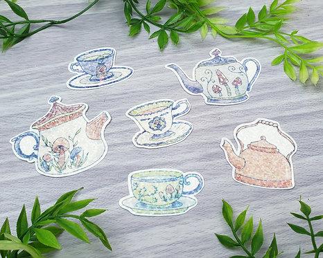 Mushroom Tea Set Holo Sticker Set