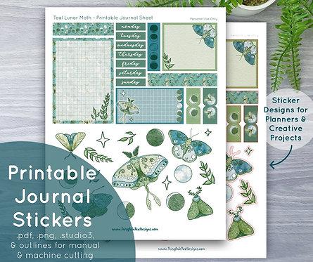 Teal Lunar Moth Printable Journal & Sticker Sheet