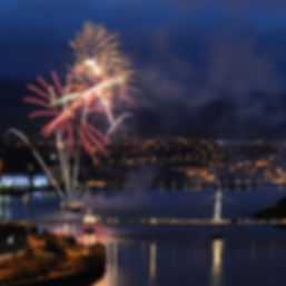 Fireworks at Peace Bridge in Derry during Halloween