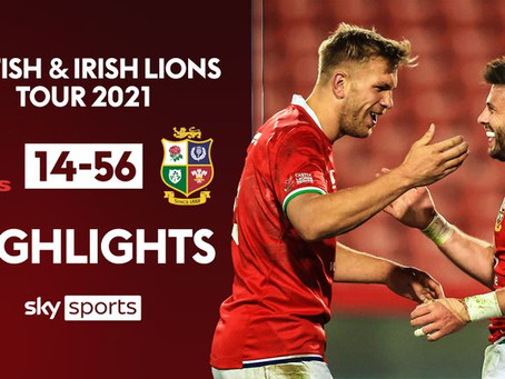 The first battle. 56 – 14 Win to the British & Irish Lions
