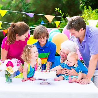 Happy big family with three kids - schoo