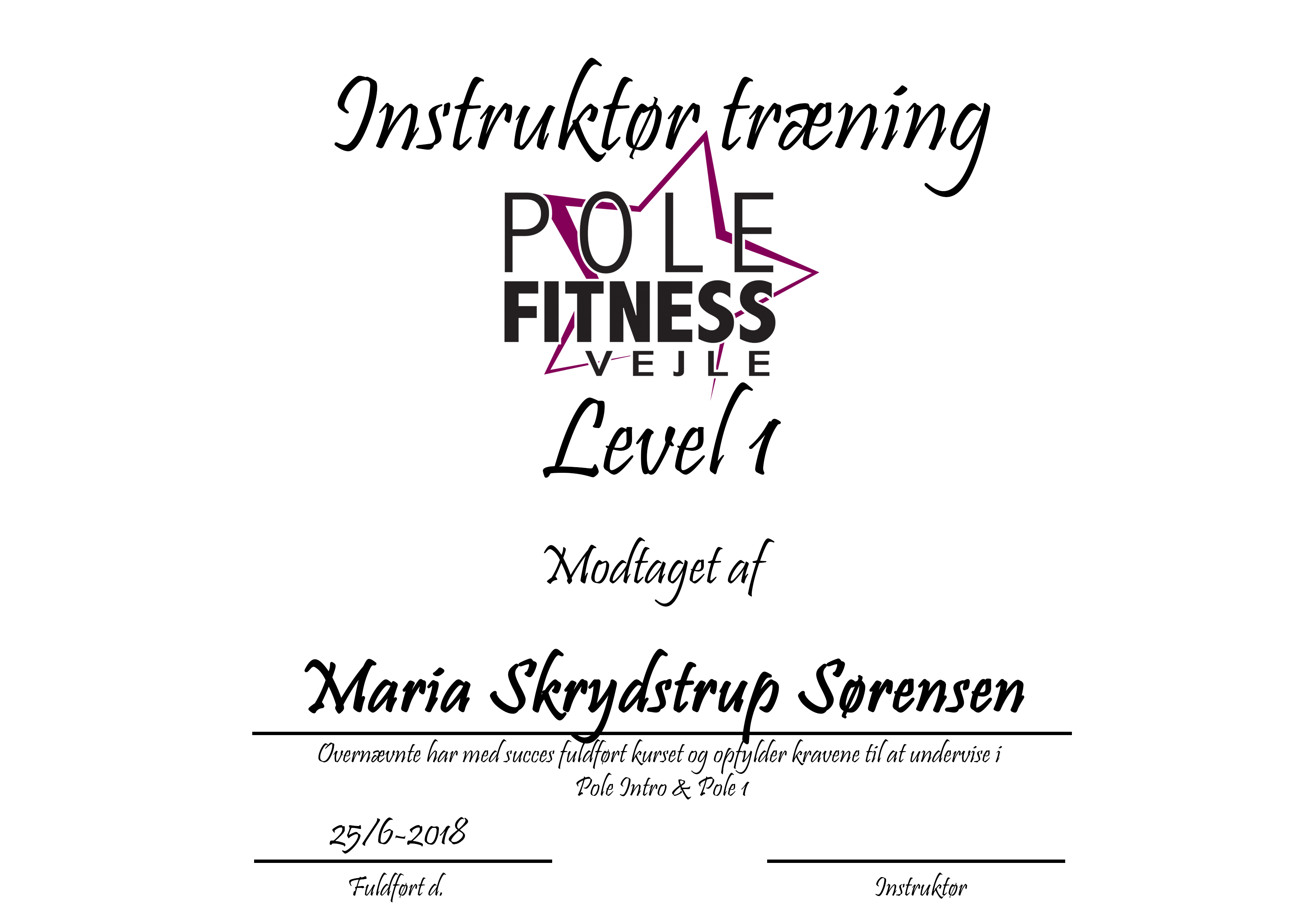 Maria_Instruktør_certifikat_level_1