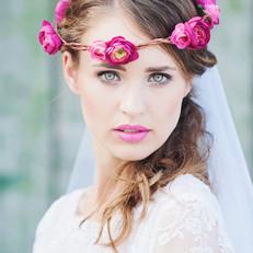 Bridal Flower Crown and Makeup
