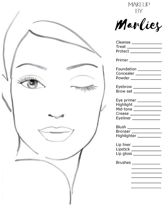 makeup workshop, makeup tutorial, makeup masterclass, Makeup chart Makeup by Marlies