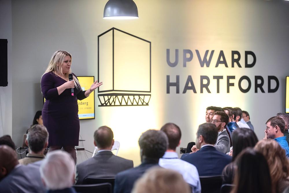 Upward CEO Shana Schlossberg speaks at Upward Labs first Demo Day at Upward Hartford