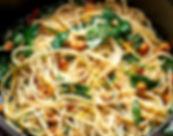 spaghetti z orzechami