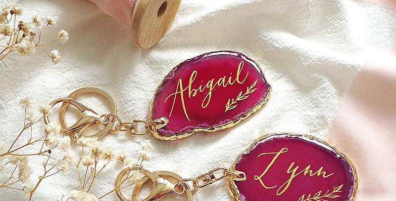 玫瑰紅色小瑪瑙石匙扣 / 名片