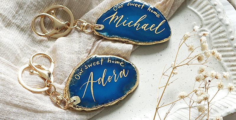 藍色小瑪瑙石匙扣