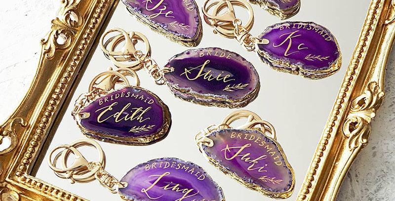紫色小瑪瑙石匙扣 / 名片
