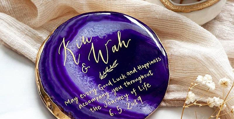 紫色瑪瑙石杯墊