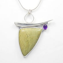 Green jasper and amethyst pendant