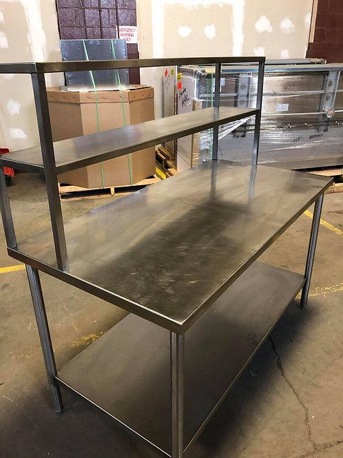 """USED - Custom Table 30"""" x 60"""" w/Double Overshelf"""