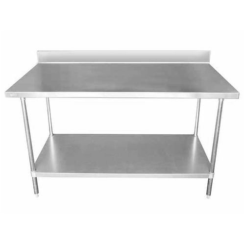 Stainless Steel Table w/ Backsplash & Galvanized Undershelf