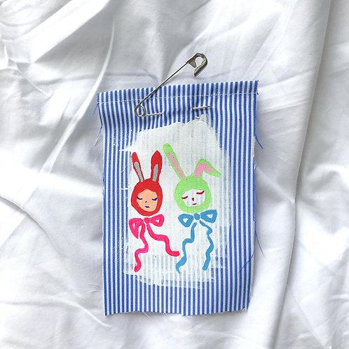 Stripe Bunnies Pin