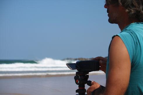 Surf teacher doing video analysis is Sagres Portugal