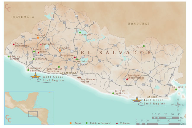 El Salvador Tourism Map, Sunzal
